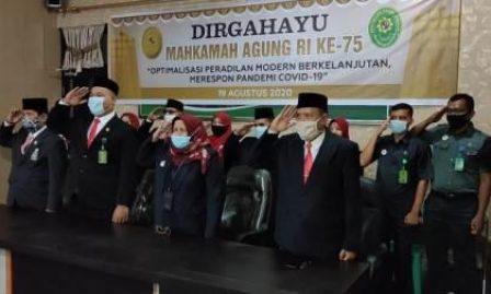 Pengadilan Agama Kisaran Mengikuti Peringatan HUT Mahkamah Agung RI Ke-75 Secara Virtual