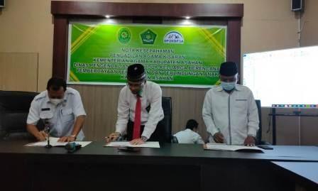 Ketua PA Kisaran Teken Nota Kesepahaman dengan Kepala Kementerian Agama Kabupaten Asahan dan Kepala Dinas P2KBP3A Kabupaten Asahan